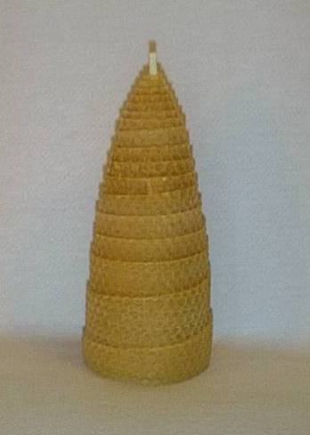 8 inch natural beeswax spiral candle . 