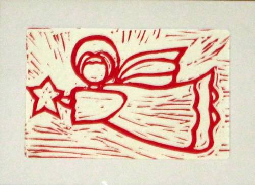 Pink Angel relief print card